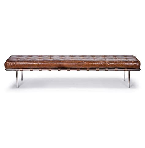 Bennet Rustic Lodge Tufted Brown Leather Bench  Kathy Kuo