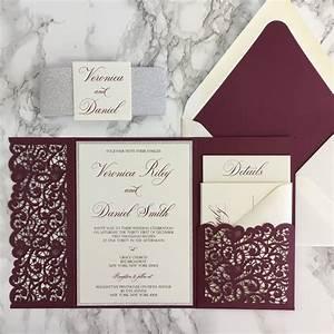 lace flap laser cut pocket wedding invitation cz invitations With wedding invitation sample maroon