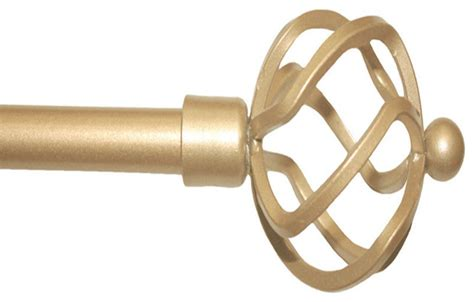 tribeca metal curtain rod and finials gold 24 48
