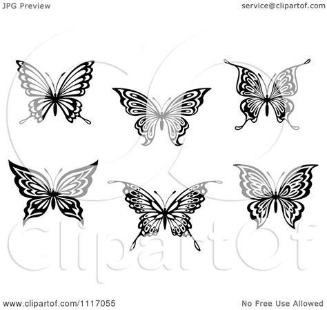 vector clipart black  white butterflies royalty