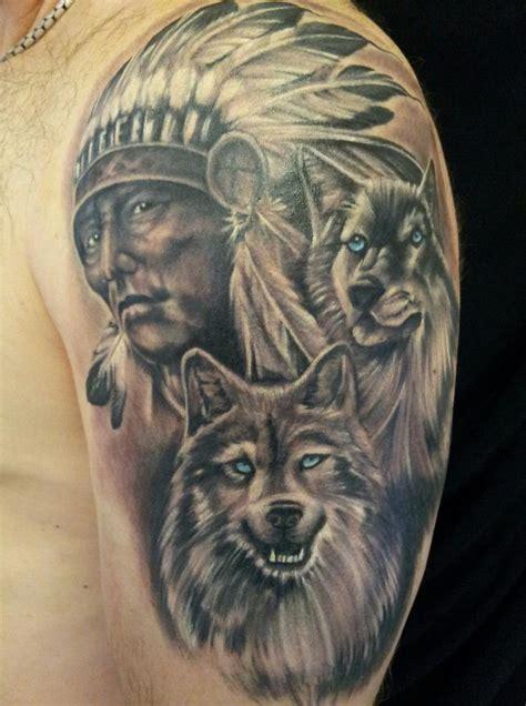 indian chief sleeve tattoos