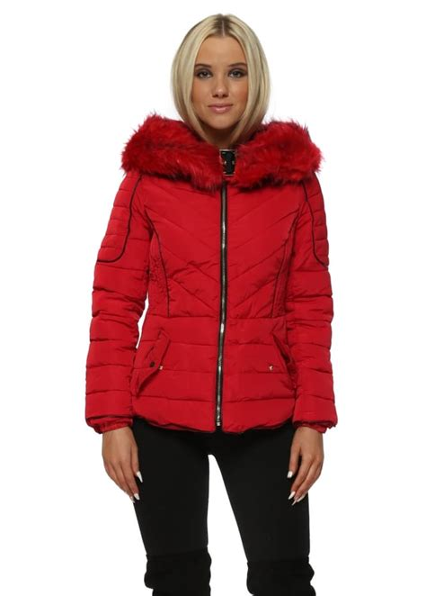red hooded faux fur quilted coat