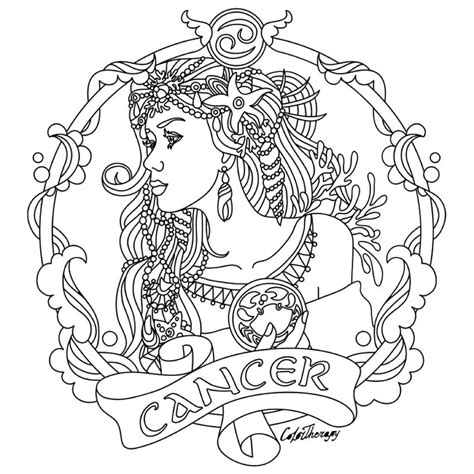cancer zodiac beauty colouring page luv  color