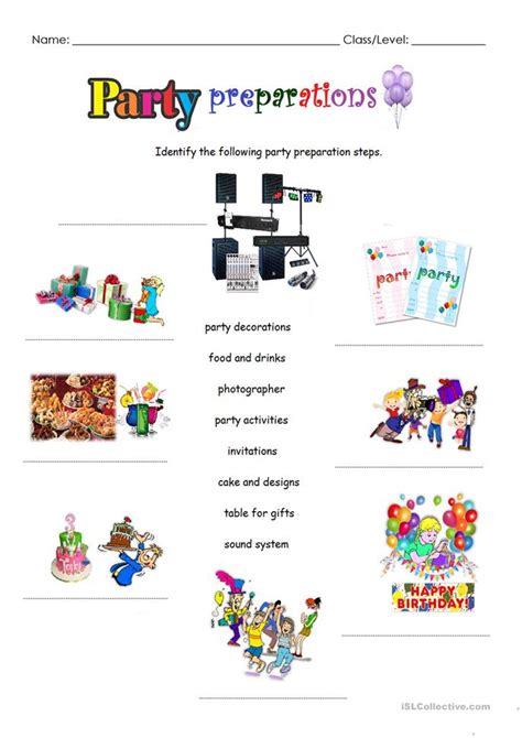 Party Prepations Worksheet  Free Esl Printable Worksheets Made By Teachers