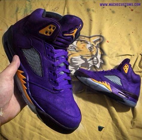 Shoes: lsu, jordan's, custom, jordans, purple   Wheretoget