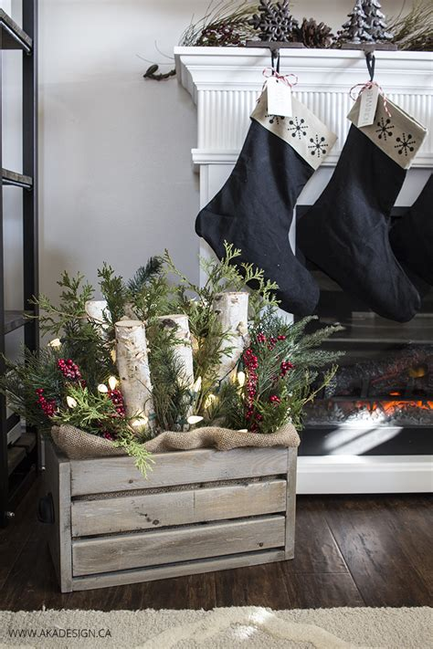 diy wooden crate  logs greenery  lights