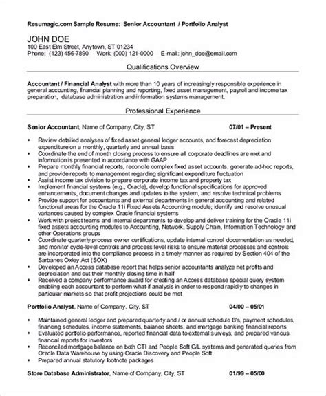 outstanding accountant resume sle for junior and senior