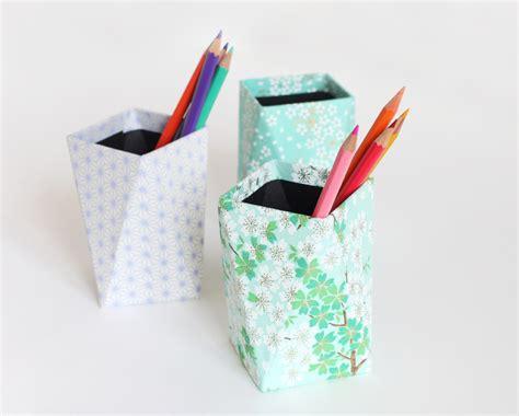 fourniture de bureau diy pots à crayons géometriques papier japonais