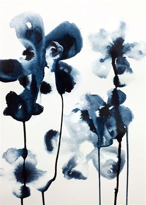 Indigo Blooms Ink On Watercolor Paper Vasco Morelli