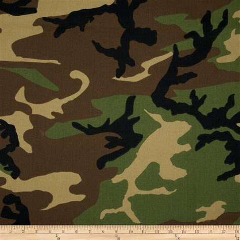 Camouflage Upholstery Fabric poly cotton twill woodland camouflage brown green black