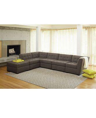 Roxanne Fabric 6piece Modular Sectional Sofa W Ottoman