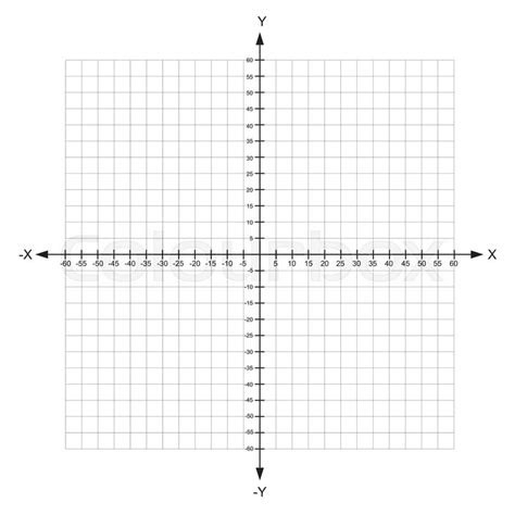Blank X And Y Axis Cartesian Coordinate Plane With Numbers On White Background Vector