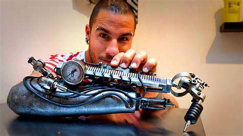 amazing prosthetic arm tattoo artist youtube