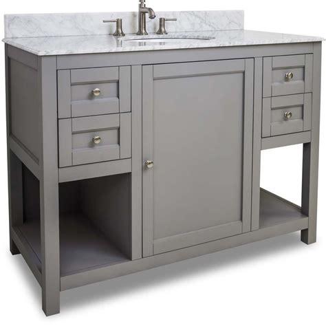 48 Inch Black Finish Single Bathroom Vanity Carrera Marble