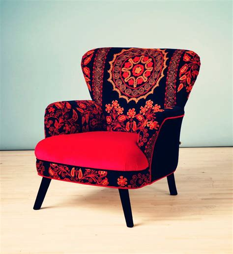 funky home decor patchwork armchair with suzani via etsy