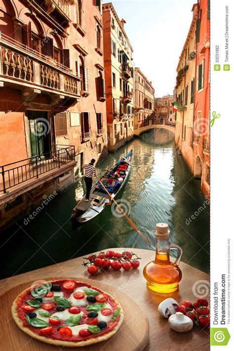 in italian italian pizza in venice against canal italy stock photography image 33231882