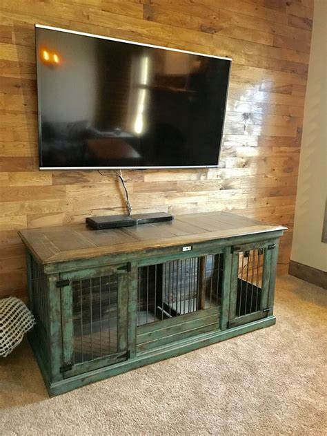 turquoise distressed double indoor dog kennel  double