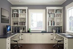 Modern, White, Home, Office, With, Two, Desks, And, Chairs