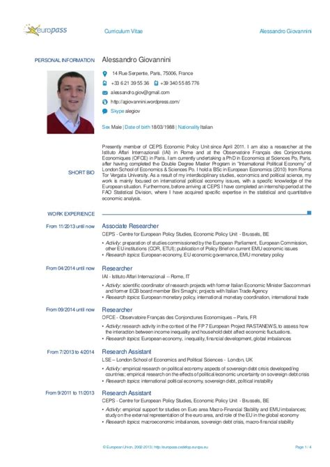 Modello Cv Europass English Example Good Resume Template