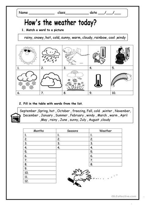 hows  weather worksheet  esl printable
