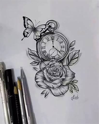 Tattoo Clock Rose Tattoos Tatoo Drawing Sleeve
