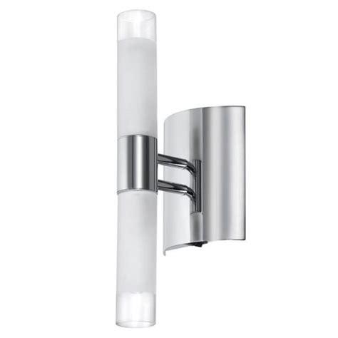 2 light polished chrome white frosted glass tubular wall