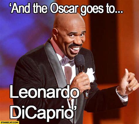 Oscars Meme - and the oscar goes to leonardo dicaprio steve harvey mistake miss universe starecat com