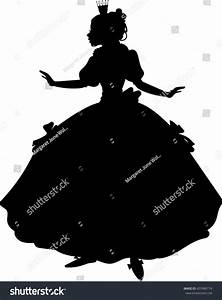 Princess Silhouette Long Gown Vector Illustration Stock ...