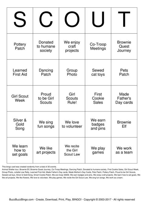 girl scout bingo cards   print  customize