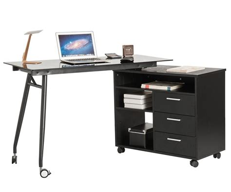 Office Desk On Wheels by L Shape Black Glass Portable Office Desk Computer Pc