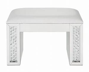 Nysa, Ivory, Pu, Leather, Mirror, Vanity, Stool, With, Faux, Crystals, By, Acme