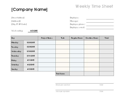 weekly time sheet with tasks and overtime