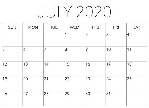 monthly calendar july  printable word  platform