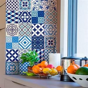 Stickers Carreaux De Ciment : 24 stickers carreaux de ciment azulejos lendro cuisine ~ Premium-room.com Idées de Décoration