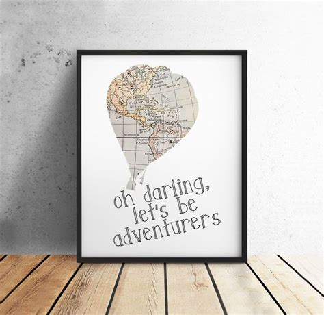 Travel Quote Oh Darling Lets Be Adventurers Vintage Map
