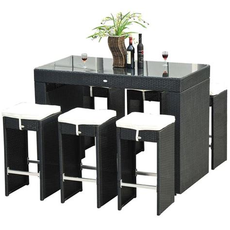 7 piece pub table set 7 piece wicker bar dining set stool table