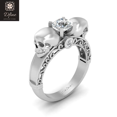 sterling silver diamond skull ring womens cheap price