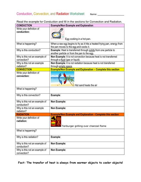 conduction convection and radiation worksheet my 7th grade classroom thermal energy