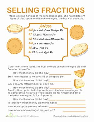 fraction word problems pie time worksheet education