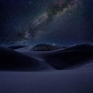Desert Dunes Sand In Milky Way Stars Night Stock Photo ...