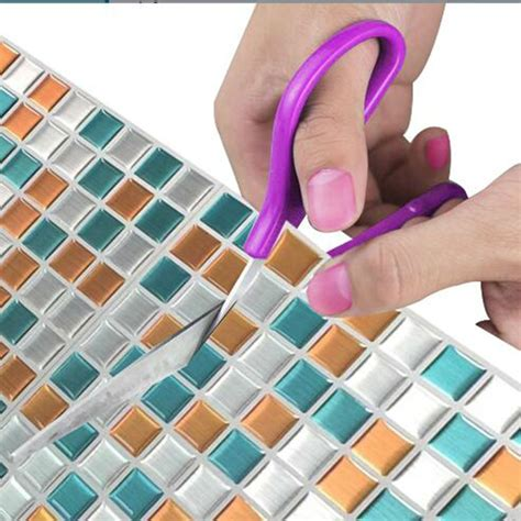 mosaic tile waterproof  easy clean wallpaper peel