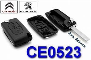 Cle Peugeot 308 : coque cl 2 boutons ce0523 et lame rainur e pour peugeot ~ Nature-et-papiers.com Idées de Décoration