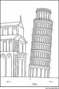 Schiefer Turm Von Pisa Als Gratis Ausmalbild