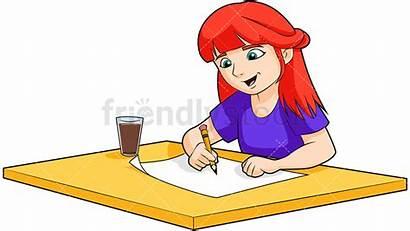 Cartoon Drawing Clipart Redhead Pencil Doing Homework