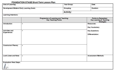 Lesson Plan Template For Eyfs