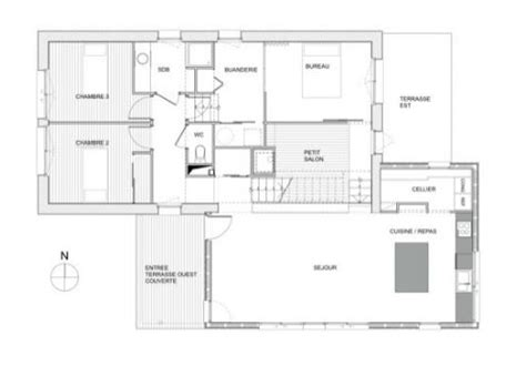 plan maison 4 chambres 騁age plan maison ossature bois plain pied gratuit plan simple de plain pied avec cotes u2013 2 chambres et cuisine ouverte maison maison maison
