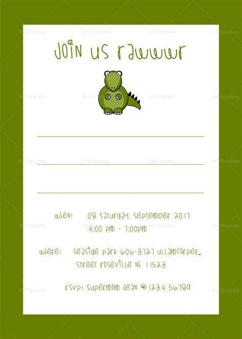 dinosaur birthday party invitation design template  psd