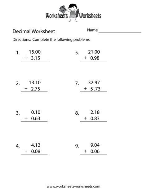 decimal addition worksheet worksheets worksheets
