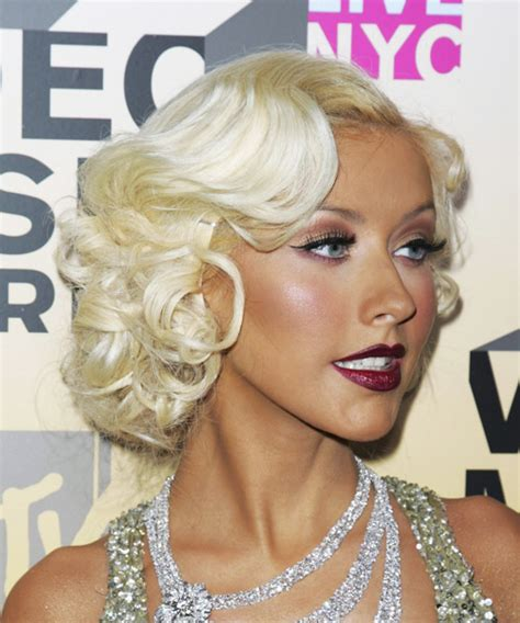 christina aguilera medium wavy formal hairstyle light