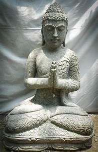 Statue De Bouddha : statue de jardin bouddha assis en pierre volcanique position pri re 80cm ~ Teatrodelosmanantiales.com Idées de Décoration